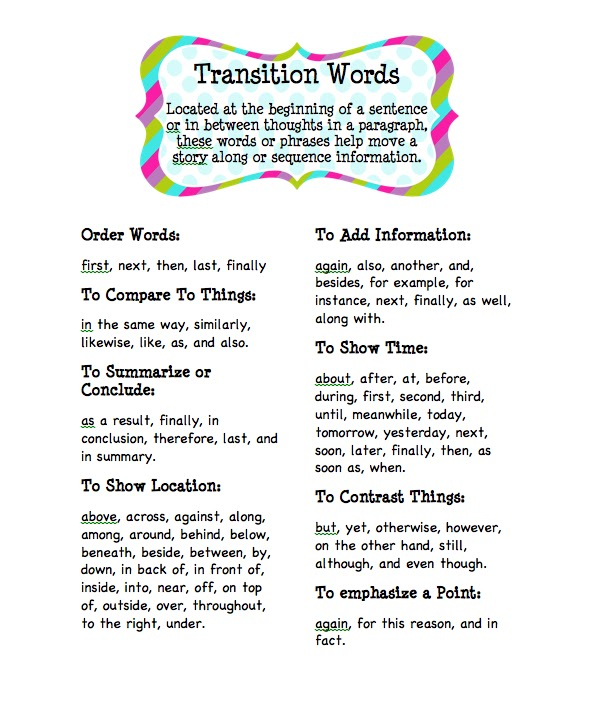 the use of transitional words for essays Transitions are the words and sentences that tie a work of writing together they guide the reader from idea to idea, making connections that turns.