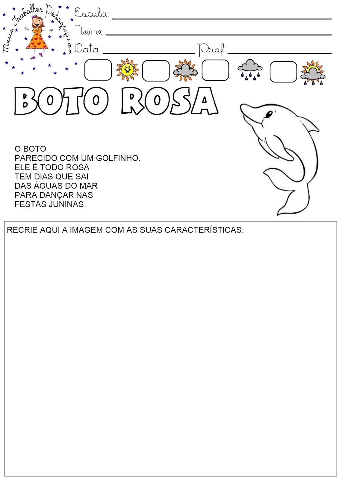 Muito Meus Trabalhos Pedagógicos ®: Atividades Folclore - Boto Rosa US17