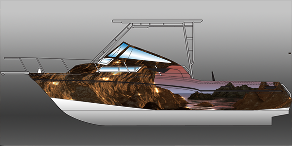 big dog graphic and wrap design marlin boat wrap