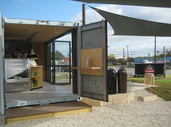 shipping container homes la boite cafe shipping container austin tx. Black Bedroom Furniture Sets. Home Design Ideas