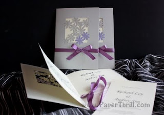 Lilac daisy wedding invitation
