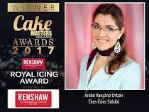 Vargáné Orbán Anikó elnyerte a CAKE MASTERS AWARDS 2017 Díját Royal Icing katagóriában