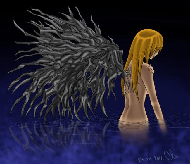 Ange déchue dans l'eau, dénudée et aux ailes difformes