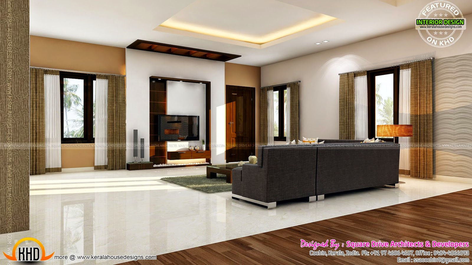 Bedroom and living interior designs kerala home design for Kerala home interior