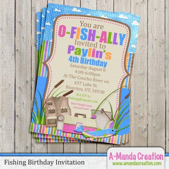 AManda Creation Fishing Themed Party Invitation