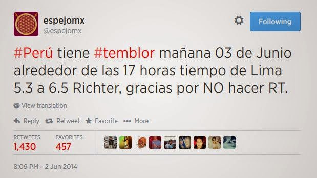 """Cuenta de Twitter """"anunció"""" el terremoto en Lima, 3 de Junio 2014"""