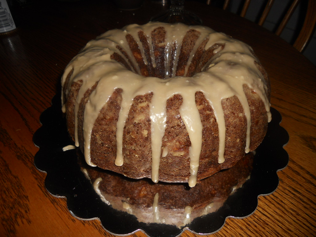 Caramel Glazed Apple Bundt Cake with a Cream Cheese Stripe - Hezzi-D's ...