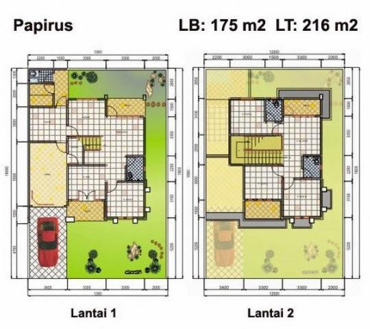 denah dan tampak depan rumah minimalis lantai 2 type 70