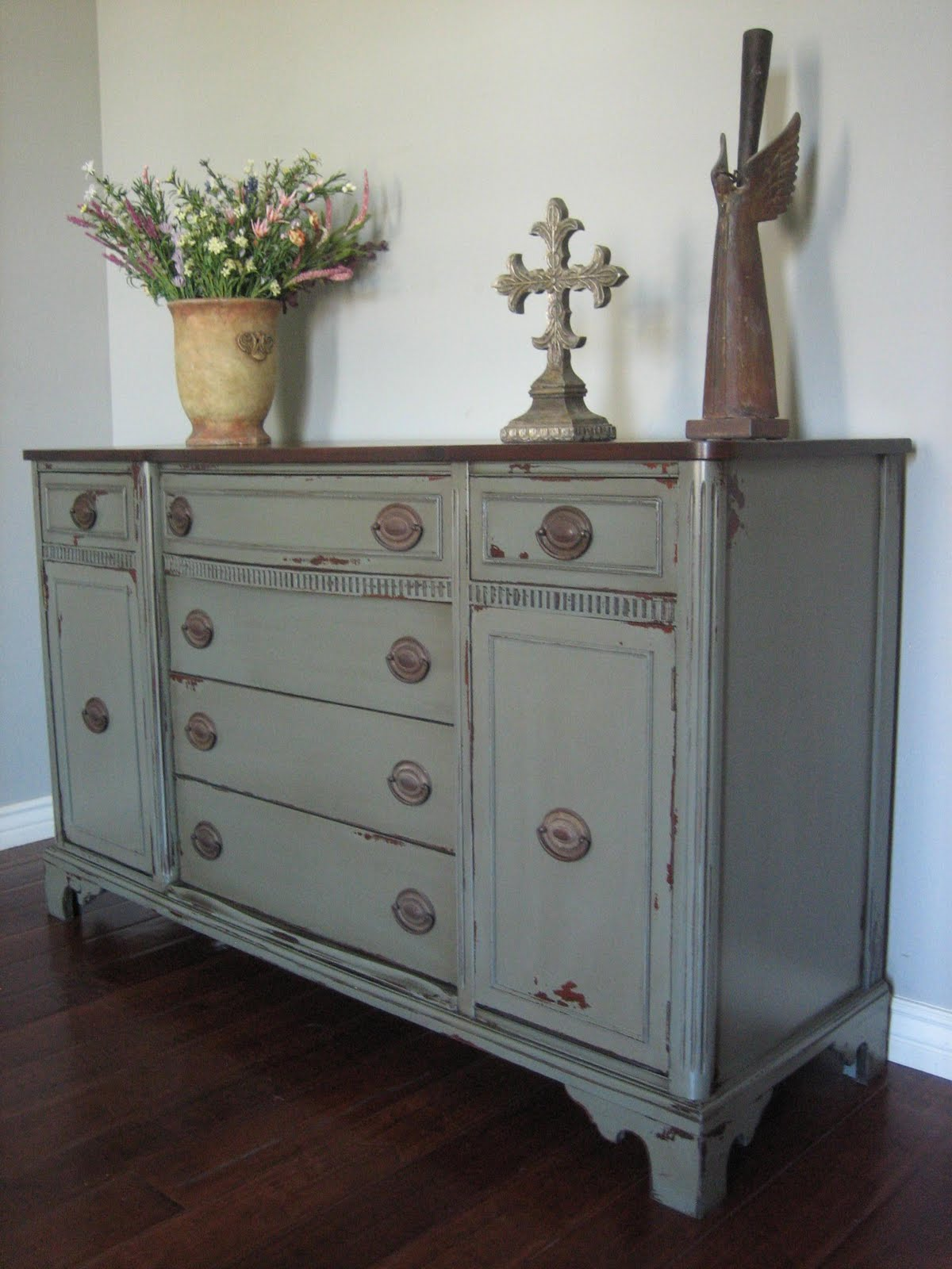 European Paint Finishes Green Gray Buffet