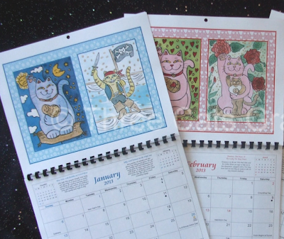 2013 calendar with Maneki Neko lucky cats