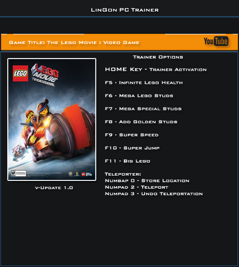 The Lego Movie Video game v1.0 Trainer +9 [LinGon]