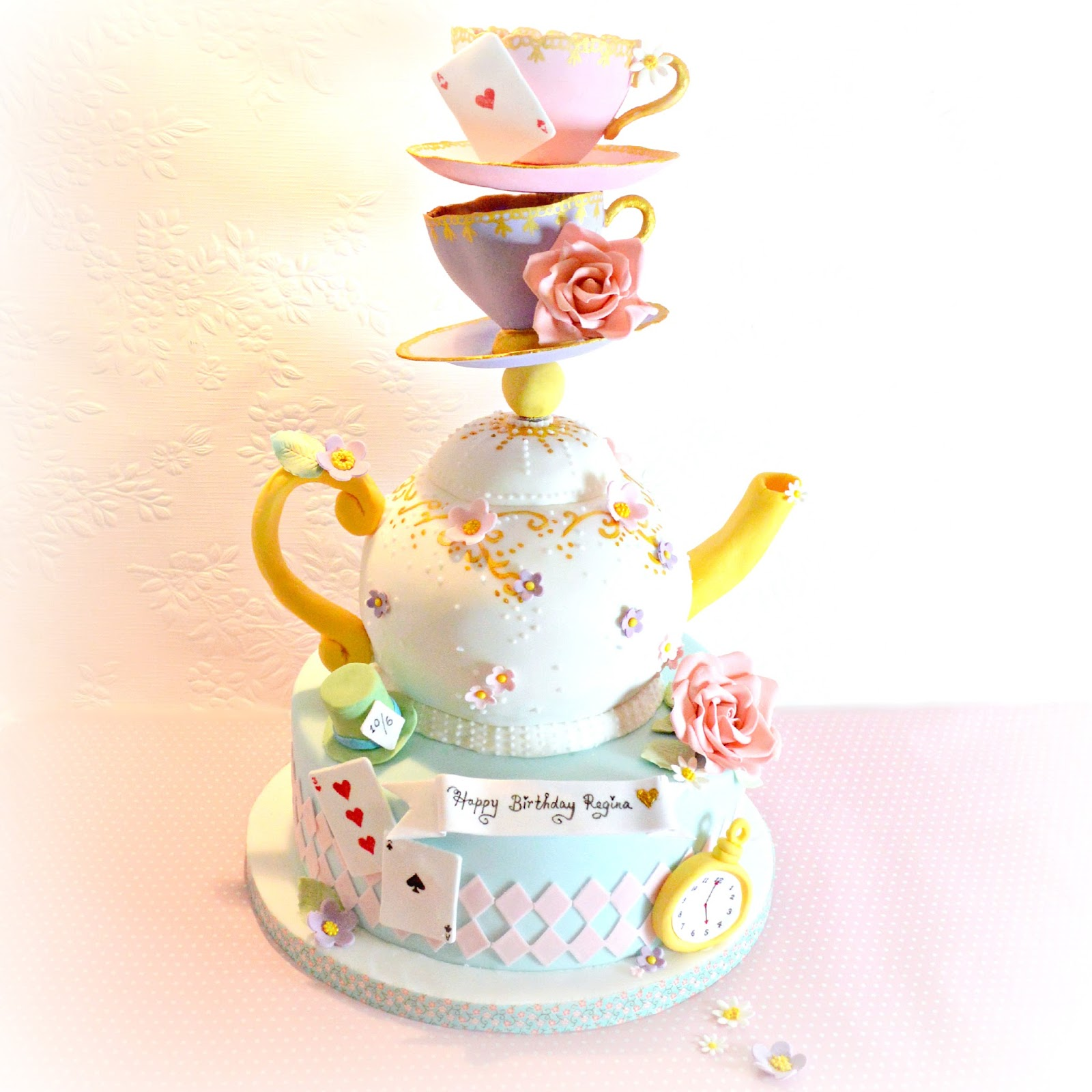 Cherie Kelly's Topsy Turvy Mad Hatter Teapot and Teacups Cake