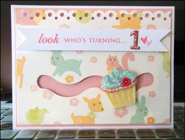 Altered Scrapbooking First Birthday Slider Card