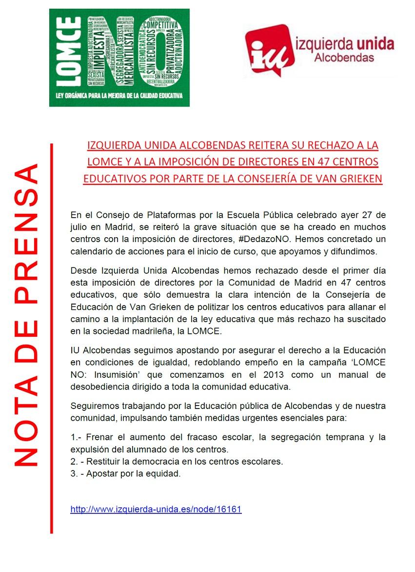 NO a la LOMCE - Imposición Directores