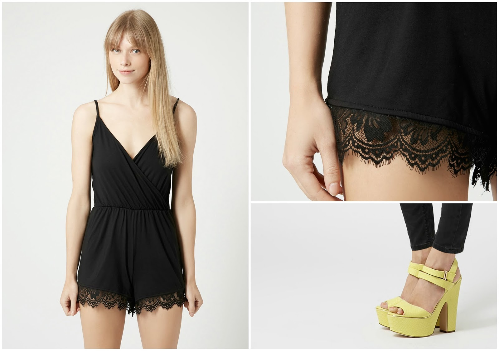 topshop lace playsuit chunky heels