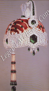 A design, unrealized, by Charles lacqueau of Cartier Paris, for a jewelled turban crown for Jagatjit Singh of Kapurthala. The large hexagonal emerald was afterwards set in Cartier's famous `Kapurthala headdress' of 1926.