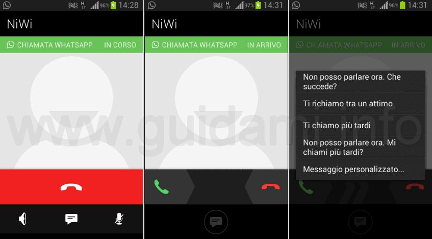Funzioni chiamate WhatsApp