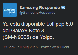 update Samsung Galaxy Note 3 android 5.0 lollipop
