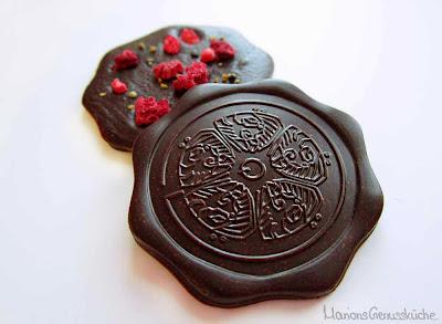 Selbstgemachte Schokoladentaler mit Himbeer und Orangenpfeffer