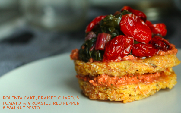 ... : Polenta cakes + braised chard with roasted red pepper pesto