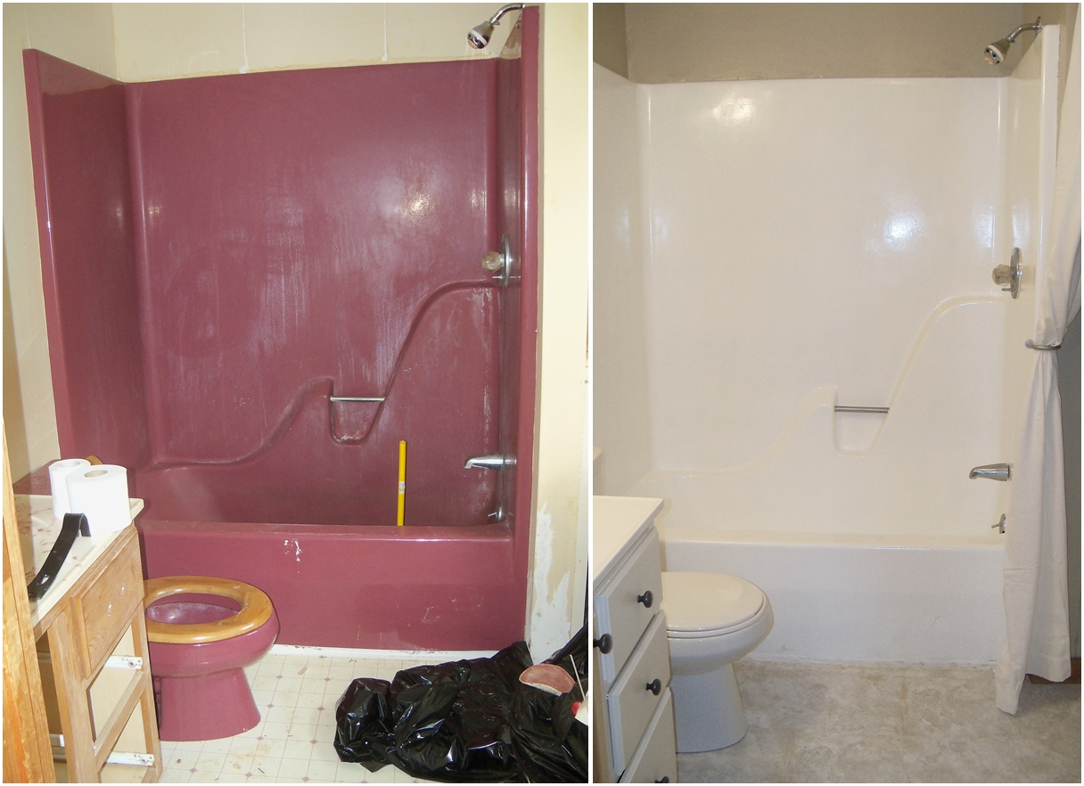 re enameling a maroon bathtub With bathroom tile paint kit