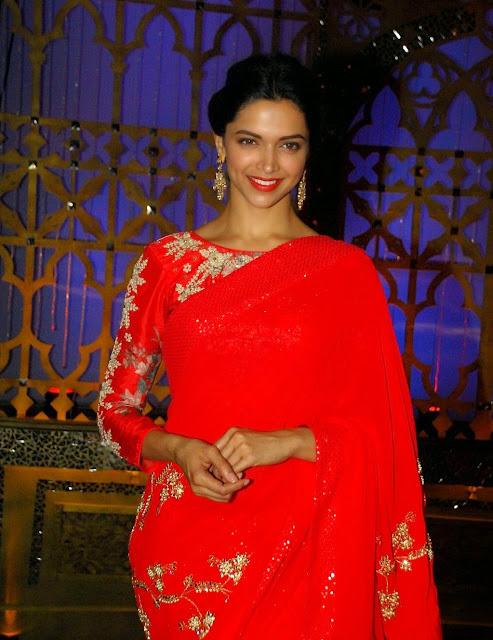 Deepika Padukone Celetes Diwali in Red Saree Exclusive Pics Celebrity Diwali