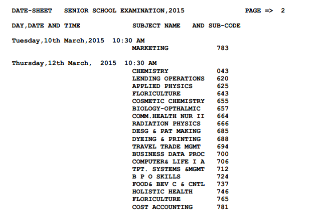 CBSE Timetable 2015 Class 12 page 3