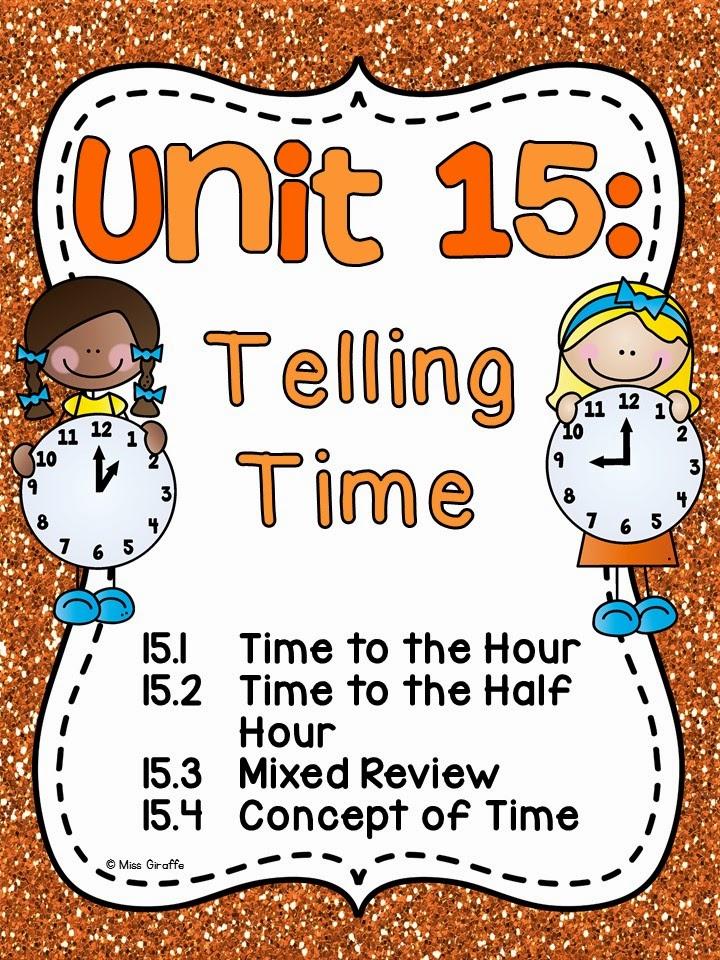 Miss Giraffes Class Math – Telling Time Worksheets 1st Grade