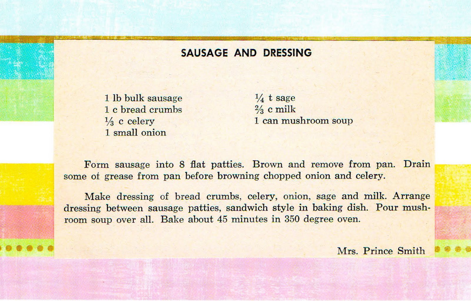 the charms of ordinary days sausage and dressing