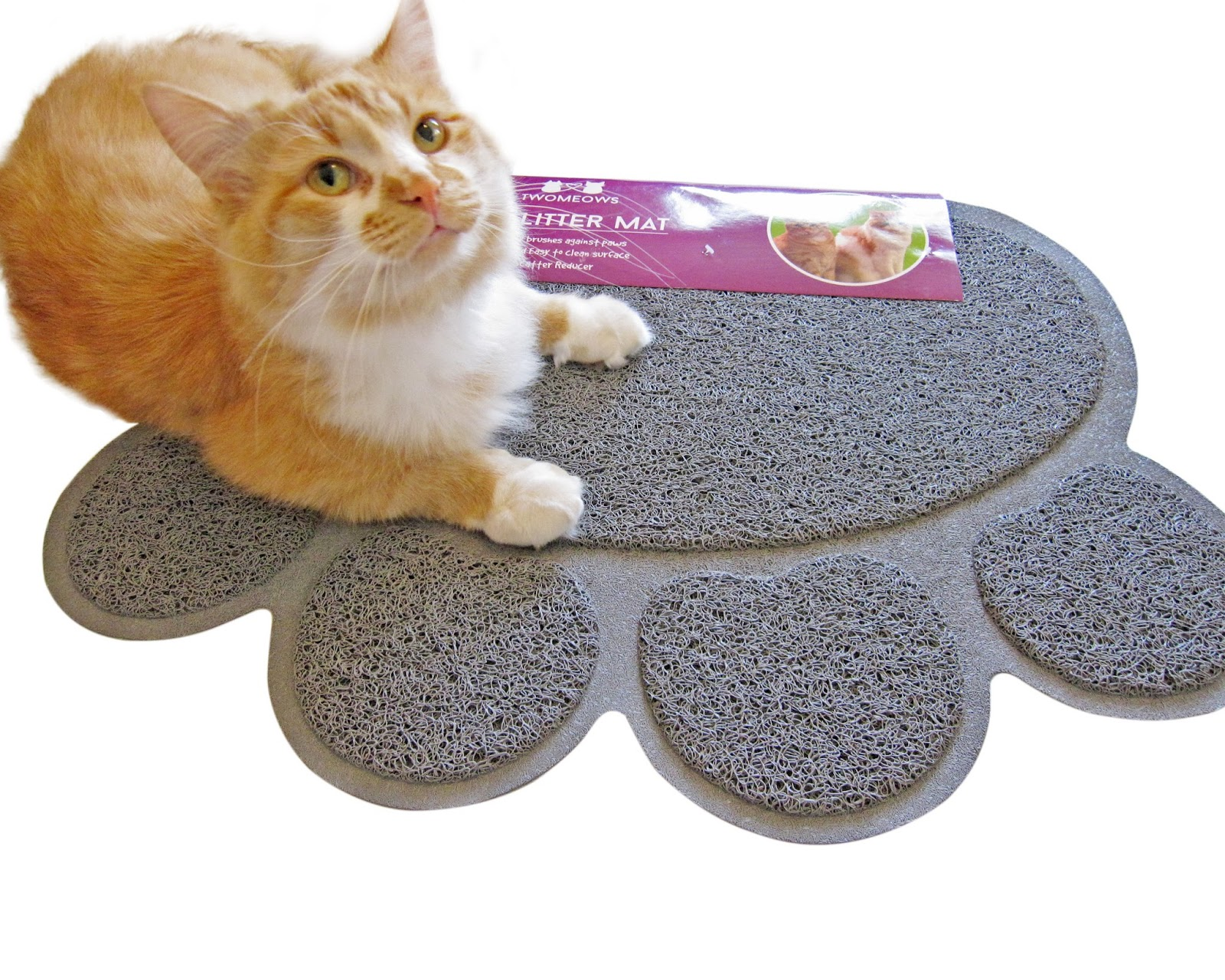 With Open Eyes To See Two Meows Cat Litter Mat Grey