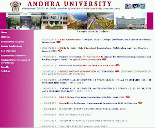Andhra University Special Drive Examination 2013 Timetable