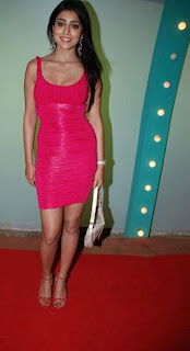 Shriya Saran Cute Photos in red Dress Pics