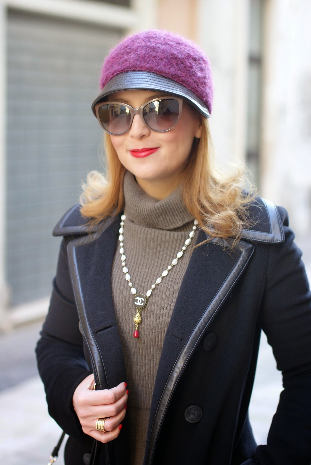 Balenciaga black coat, jockey hat, Chanel inspired necklace, Sofia borse Candy pochette, Fashion and Cookies, fashion blogger