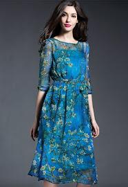 Half Sleeve Blue Forest Chiffon Dress