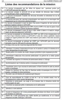 recommandations IGAS 2011 pour la pharmacovigilance et gouvernance de la chaîne du médicament