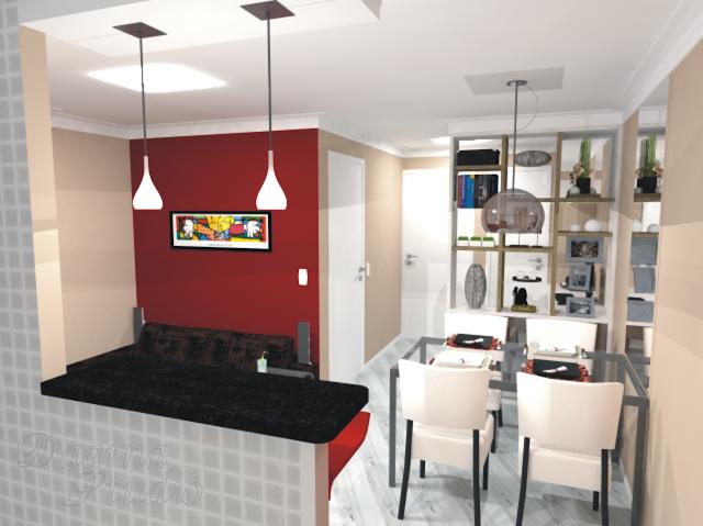 Sala De Estar E Home Office ~  & Interiores Estudo 2  Sala de Estar, Sala de Jantar e Home Office