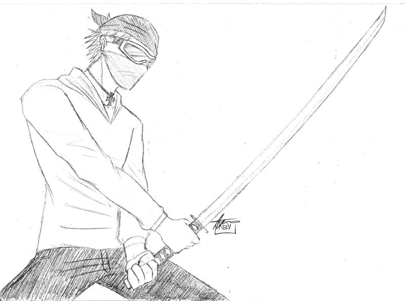 Sword Fighter Drawing The Classic Anime Sword Stance