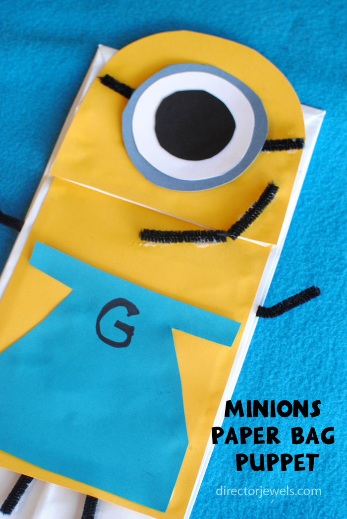 Minions Paper Bag Puppet | Minions Despicable Me Party Ideas at directorjewels.com