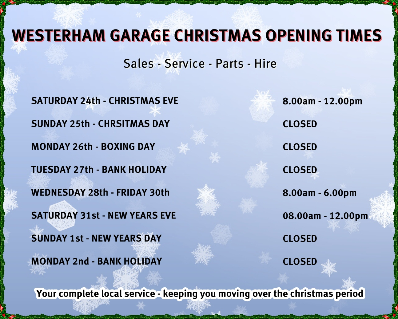 Westerham garage christmas new year opening times