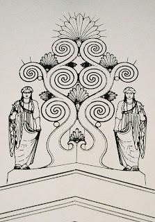 Bild 5: Skizze des Firstakroters mit rekonstruierten Teilen im Museum beim Aphaia-Tempel auf der Insel Ägina. Die Rechte am Bild liegen bei Dr. Ernst Theodor Mayer, München.