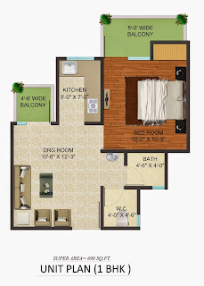 Golf Country, Yamuna Expressway :: Floor Plans,Golf Village:-Studio Unit Plan Plot Area: 690 Sq. Ft.