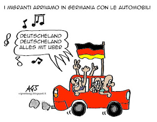 migranti, uber, germania, satira, vignetta