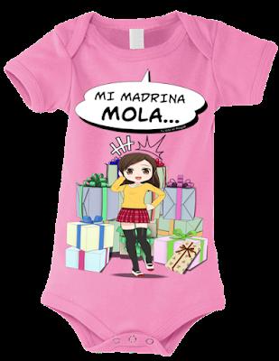 """Body para bebés """"Mi madrina mola (niña)"""" color rosa"""