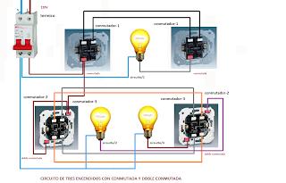 circuito de 3 encendidos con conmutada y doble conmutada