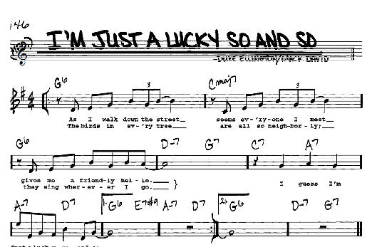 Jazz Chord Chart to Duke Ellington's I'm Just A Lucky So And So