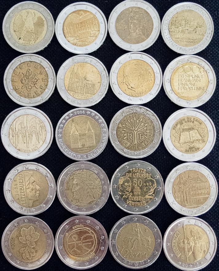 Monedas de dos euros de diferentes países