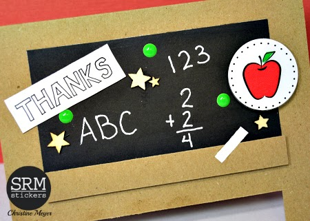 SRM Stickers Blog - Chalkboard Teacher Thank You Card by Christine - #card #teacher #thankyou #stickers #chalkboardmarker #Blackboard #DIY