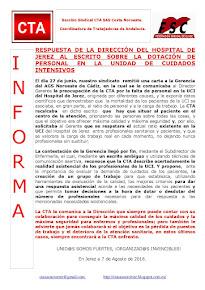 RESPUESTA DE LA DIRECCIÓN DEL HOSPITAL DE JEREZ AL ESCRITO SOBRE LA DOTACIÓN DE PERSONAL EN LA UNID