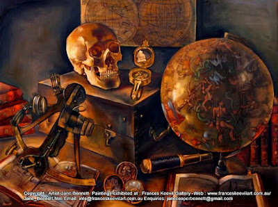 "still life oil painting of antique navigation instruments""The Art of Navigation"" oil on canvas 75 x 100cm by Artist, Jane Bennett"