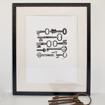 Victorian Keys A3 Black Screen Print by We laugh indoors
